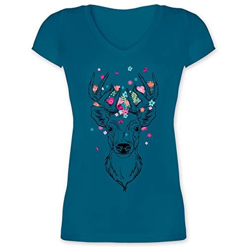Oktoberfest & Wiesn Damen - Hirsch mit kleinen Blumen - schwarz - M - Türkis - Tshirt schwarz Blumen - XO1525 - Damen T-Shirt mit V-Ausschnitt