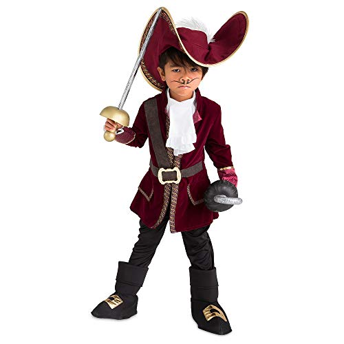 Disney Captain Hook Costume for Kids - Peter Pan Size 5/6 Red