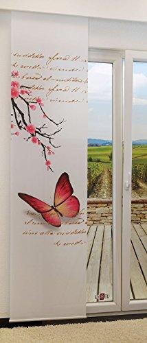 LYSEL Schiebevorhang Schmetterling lichtdurchlässig mit Motiv in den Maßen 245 cm x 60 cm rosa/pink