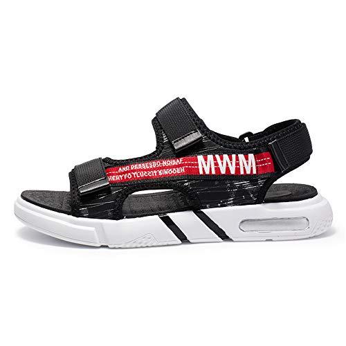 ALLAK Men Sports Sandals Outdoor Athletic Hiking Leather Fisherman Beach Shoes Traveling(Black-Grey-Lable 39/6 D(M) US Men)