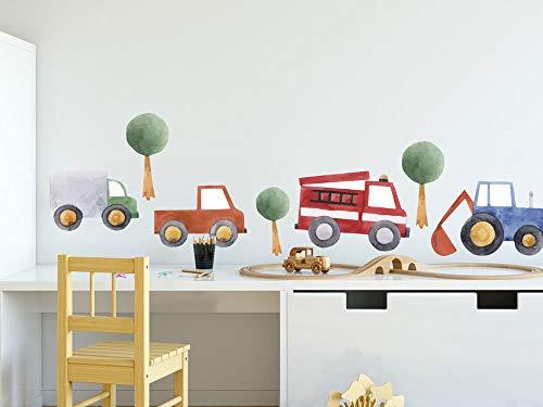 GRAZDesign Wandtattoo Autos Kinderzimmer, Wandaufkleber Bäume für Jungen, Deko für Babyzimmer Baby Jungenzimmer Jungs, Aquarell / 57x80cm