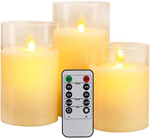 YMing Flackernde Flammenlose Kerzen, Realistisch LED Flammen, Echte Wachssäulenkerzen im Goldglas, Fernbedienung mit Timerfunktion, Größe 10 cm / 12,5 cm / 15 cm Hoch, 7,5 cm Durchmesser(Weiß)