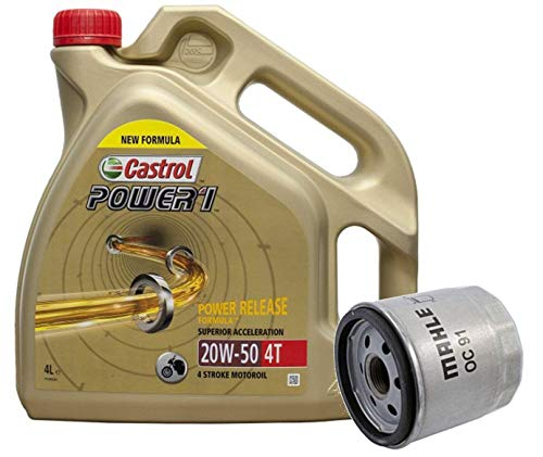 Castrol Kit Duo Power 1 Aceite de Motores 20W-50 4T 4L + Filtro Mahle OC91