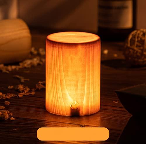 Zi Yang LED Madera Luz de Noche Luz cálida 3000K Luces nocturnas Lámparas de Noche Alimentado por USB Posponer Luces Lámpara de Mesa de sobremesa habitación Cuarto Regalos Interruptor tactil 2W,A