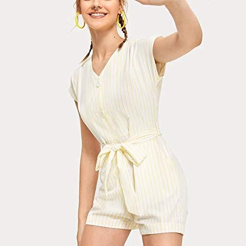 Korte mouw Gele Gestreepte korte mouwen Jumpsuit (Kleur: Geel Maat: S). (Color : Yellow, Size : One Size)