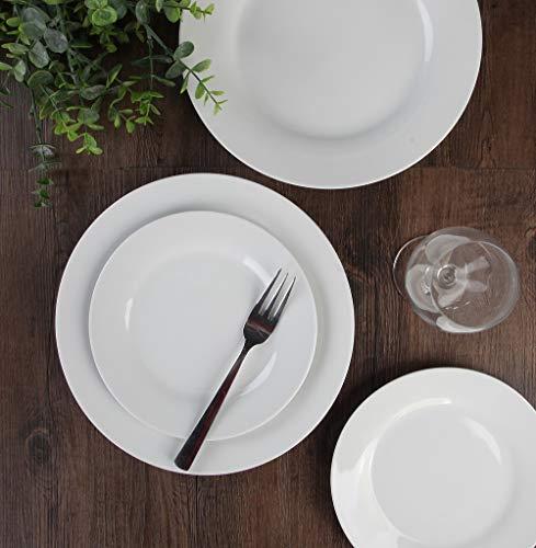 Porcasa Porcelain Plates, White Round Flat Dinner Plates, 10.5 inch, Set of 6