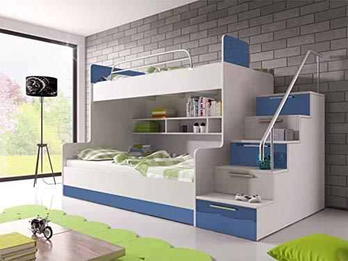 KRYSPOL Etagenbett für Kinder Raj 2 Stockbett mit 2 Betten, Treppe und Bettkasten (Weiß + Blau Glanz, Seite: rechts)