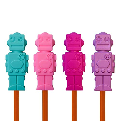Munchables Chewable Pencil Toppers for Kids and Adults - Sensory Oral Motor Chew Aid - Set of 4 Robots (Aqua/Pink/Fuchsia/Purple)