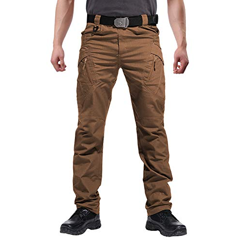 FEDTOSING Cargohose Herren Vintage Militär Tactical Hosen mit Stretch Arbeitshose Outdoor Viele Taschen Leichte Baumwolle(EUBraun L, 34W30L