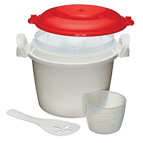 KitchenCraft Mikrowellen-Reiskocher und -Dampfgarer, BPA-freier Kunststoff, 1,5 Liter