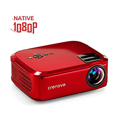 """Crenova Projector Native 1080p LED Video Projector, 6000 Lux HDMI Projector with 200"""" Image Display Compatible with TV Stick, HDMI, VGA, USB, Laptop, Phone for Home Theater"""