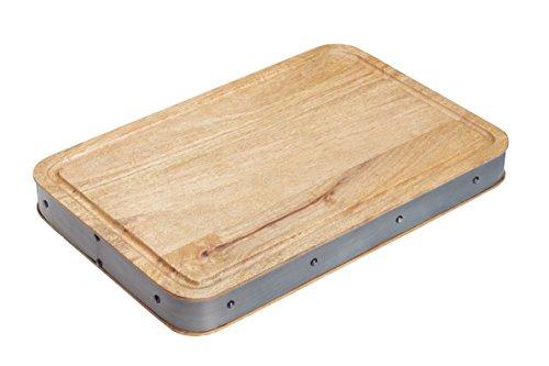 Kitchencraft industriale cucina artigianale in legno a tagliere tagliere, Legno, Beige/Grey, 48 x 32 x 5.2 cm