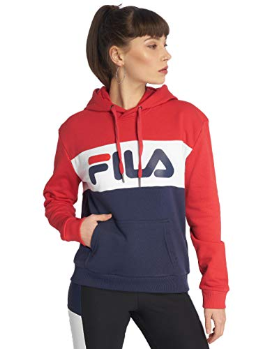Fila Kapuzenpullover Damen Lori Hoody 687042 G06 Black Iris True Red Bright White, Größe:M
