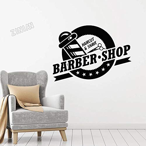 HGFDHG Calcomanías de Vinilo para Pared de Corte de Pelo Pegatinas de decoración de peluquería Accesorios para el hogar