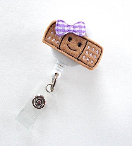 Smiling Bandage Purple - Retractable Badge Reel - Name Badge Holder - Nurse Badge Holder - Pediatric Nurse Badge - Felt Badge - RN Badge Holder Photo #2