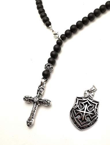 Collar Cruz acero inoxidable 316L negro Ónice Cuentas 10mm Lava piedras semipreciosas Y-Collar escudo de caballero rosario hombre mujer damas/ALLA