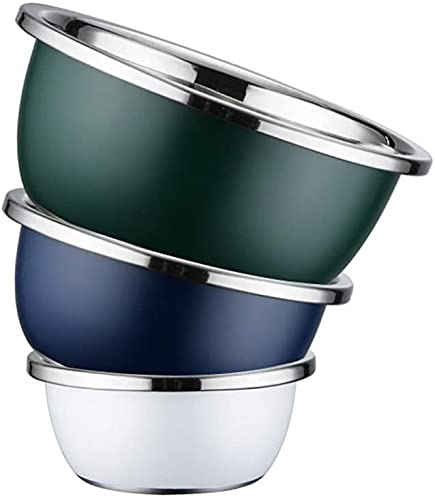 HMY Three-piece mixing bowl, stainless-steel nested coloration storage bowl, container set for cooking, mixing, baking, consuming and meals storage, (Size : 20+24+28cm)