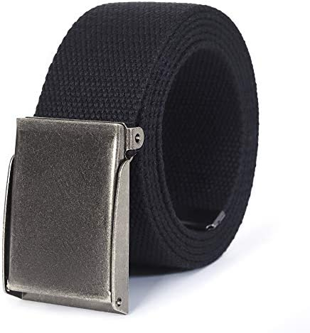 Canvas Web Belt Cut to Fit Up to 52 Flip Top Matte Silver Nickel Buckle Black product image