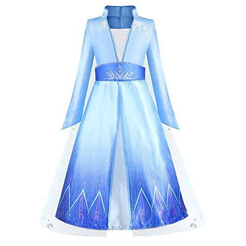 O.AMBW Elsa Disfraz Princesa Vestido Azul Lentejuela Manga Larga Nieve Tul Chal Vestido Fiesta de Halloween Cumpleaos Fiesta de Baile Accesorios Corona Varita mgica para nios 3-9 aos