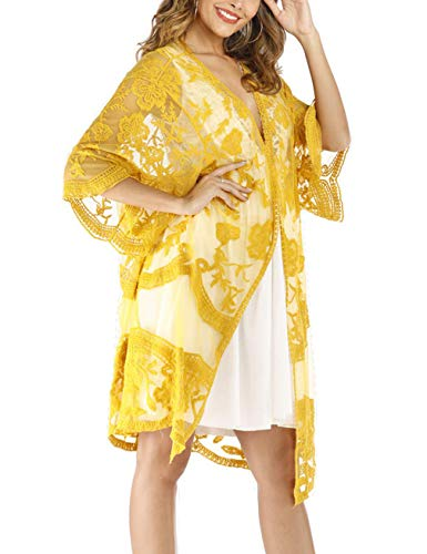 Lace Crochet Kimono Women's Long Swimwear Beach Sheer Swimsuit Cover Up Cardigan