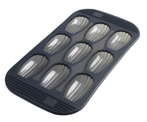 Mastrad F42614 Madeleines-100 Anti-Adhésif-Maintien Parfait-Gris Fumé, Silicone Premium, Moule 9 cannelés