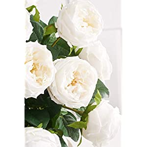 k&k interiors 16411a-wh full bloom peony, 24 inch white real touch austin rose stem silk flower arrangements