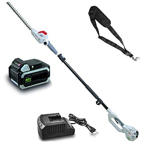 IKRA 51000460 tijeras cortasetos telescópico IATHS 40-43, incl. batería, cargador & cinta de hombro, 40 V, gris, rojo y negro
