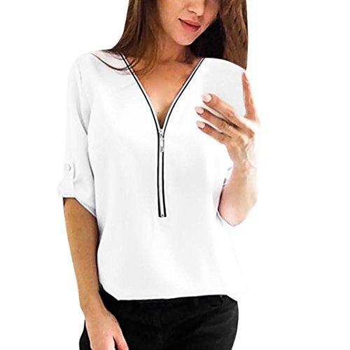 Womens décontracté Tops Chemise Dames V Neck Zipper lâche T-Shirt Blouse Tee Top,Chemise Femme Blanche Chic,Chemise Femme Chic Soiree (XL, Blanc)