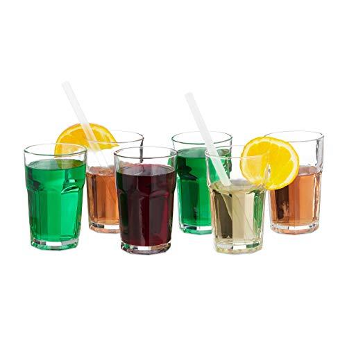 Relaxdays Succhi Set da 6 Bicchieri, Rotondi, per Acqua, Cristallo, 300 Ml
