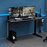 sogesfurniture Mesa de Juegos para PC Mesa Gaming Escritorio Grande para Computadora con Portavasos y Gancho para Auriculares, Alfombrilla de ratón para Gaming, Negro BHEU-YT-TF-140Z