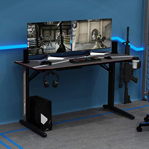 sogesfurniture Gaming Tisch Ergonomisch Gaming Schreibtisch Großer Computertisch mit Mausunterlage, Getränkehalter und Kopfhörerhaken, 140x60x75cm, Schwarz BHEU-YT-TF-140Z