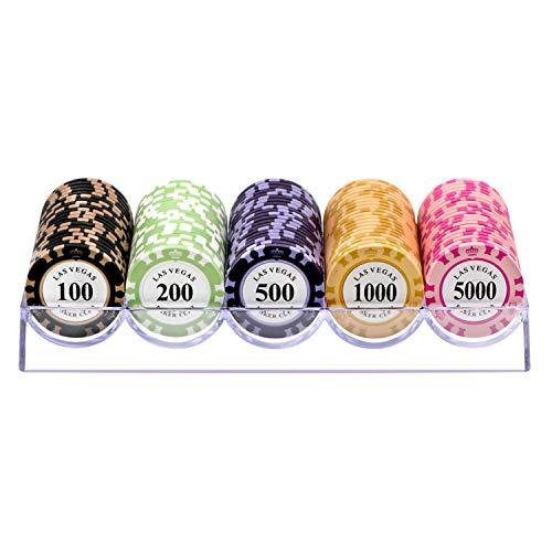 Shuihu Conjunto De Fichas De Póquer Portátil 100PCS, Chips De Hierro De Hierro Incrustado De Arcilla Casino con Caja De Póquer Profesional con Caja De Plástico,D