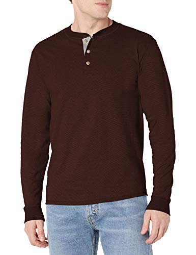 Hanes Men's Long-Sleeve Beefy Henley T-Shirt - Small - Dark...