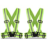 ZOJO Kids Reflective Vest 2pcs | Lightweight, Adjustable & Elastic | Safety & High Visibility for Running, Jogging, Walking, Cycling | Fits Outdoor Clothing (Neon Yellow-Kids Size)