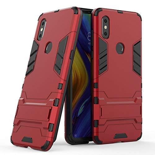 COOVY® Funda para Xiaomi Mi Mix 3 de plástico y Silicona TPU, extrafuerte, con protección contra Golpes, Funda con función Atril | Rojo