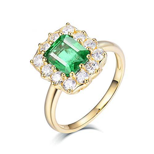 AnazoZ Anillos Mujer Plata Esmeralda,Anillos de Compromiso de Oro Amarillo 18K Oro Verde Rectángulo Esmeralda Verde 2ct Diamante 0.69ct Talla 12