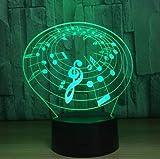 7 luces LED que cambian de color Notas musicales en 3D luces nocturnas notas musicales luces de instrumentos decoración del hogar USB LED regalo de amantes de la música