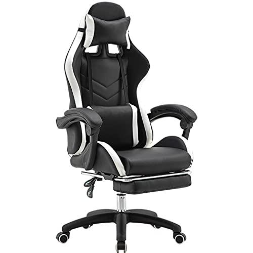 huasa Gaming Stuhl Bürostuhl Racing Stuhl Gamer,Ergonomischer Stuhl,Ergonomischer Bürostuhl mit verstellbare Armlehne Kopfstütze und Lendenkissen Ergonomischer Gaming Chair,Black