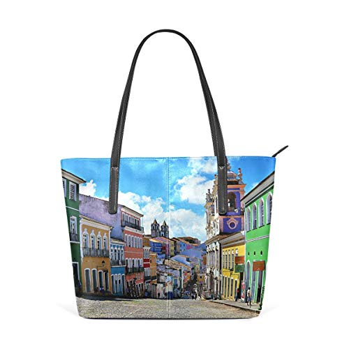 jhin Womens Purse Salvador Brazil Landscape PU Leather Shoulder Tote Bag Bolso de hombro Backpack Ladies Travel Shopping Bags