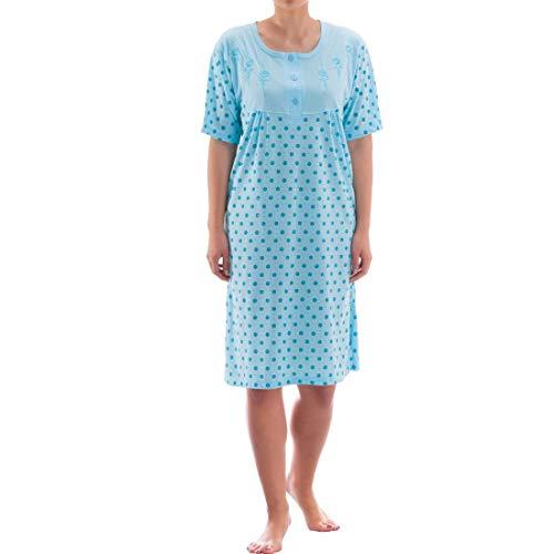 Zeitlos Nachthemd kurzarm mit floralem Rosendruck (M, hellblau)