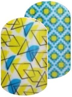 Jamberry Nail Wraps - September 2016 Stylebox Trendy 2 - HALF Sheet - Bright Yellow and Blue Geometric