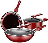 TYUIOYHZX Conjunto de utensilios de cocina de cocina, utensilios de cocina conjuntos de ollas y sartenes Set Woks & Stir-Fry Pans, 3 piezas de utensilios de cocina de hierro conjuntos Wok Frey Sour So