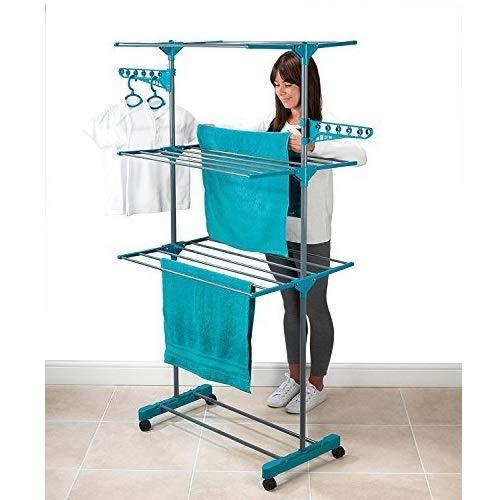 Maxi Compact original. Tendedero vertical XL.Tendedero compacto, plegable y vertical con 21barras plegables y ruedas–Tendedero rápido para secar ropa