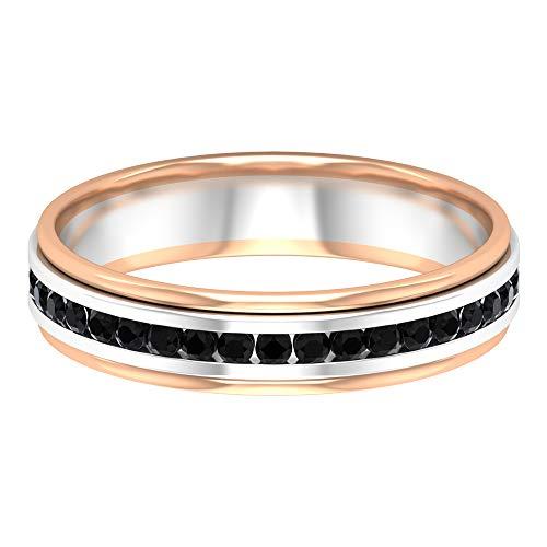 Banda de eternidad para mujer, anillo de diamante negro de 1/4 quilates, banda de conjunto de canales, 14K Oro blanco, DIAMANTE NEGRO REDONDO, Size:US 67