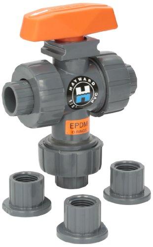 Hayward TW1050STE 3-Wege-Kugelhahn aus PVC, mit EPDM-Dichtungen und Stecknuss/Gewinde-Endanschluss