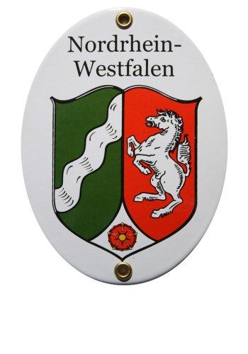 Nordrhein-Westfalen Emaille Schild Nordrhein-Westfalen 11,5 x 15 cm Emailschild Oval.
