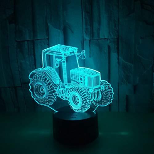 OSALADI 3D Nachtlichter Kinder Spielzeug Traktor Auto Illusion Lampe Farben Ändern Remote Lampe Zimmer Nachttisch Schreibtisch Dekor mit Batterie für Baby Schlafzimmer (Schwarz)