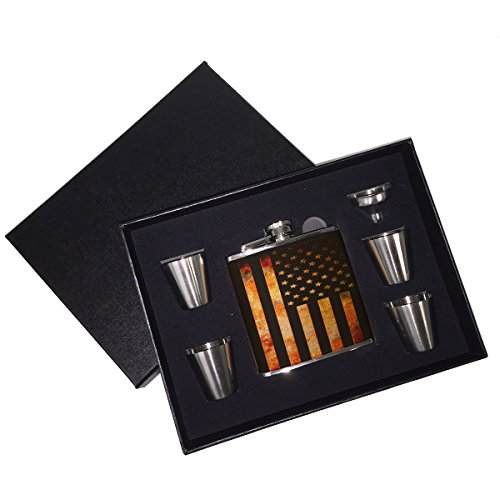 Sunshine Cases - American Flag Grunge Metal Leather Liquor Whiskey Flask Gift Set