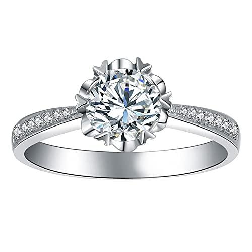 minjiSF Anello da donna sottile con diamante lucido, non sbiadisce, anello di fidanzamento, fedi nuziali, anello di fidanzamento e fedi nuziali, stile unico (bianco B, 9)