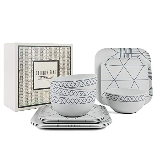 Bamboo Dinnerware 12 Piece Set - Reusable Tableware, Dinner Plates and Bowls - Indoor/Outdoor Shatterproof Dishes with Stylish Design Perfect for Picnics, Camping, BBQ's